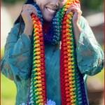 FREE Written Crochet Pattern: Chunky Rainbow Pom Scarf
