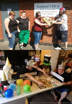 "Host a ""Going Away Party for a Boardgame"" and then take it to a shelter for families living there"