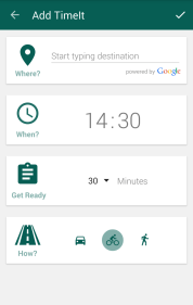 TimeIt add alarm screen