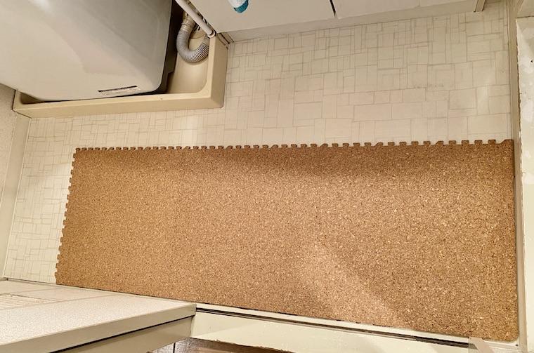 洗面所のコルクマットの敷き方