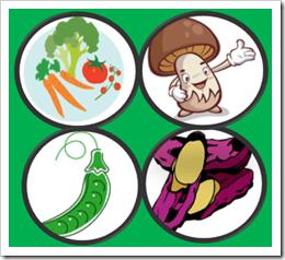 不溶性食物繊維の多い食品(野菜・豆・いも・きのこ)