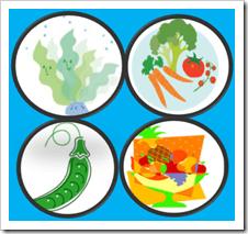 水溶性食物繊維の多い食品(海藻・果物類・野菜・豆)