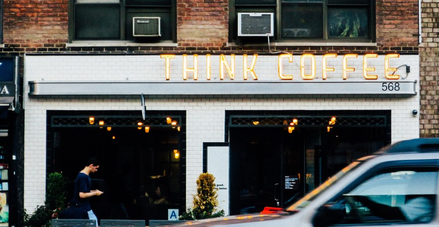 think coffee shop outside shop portrait