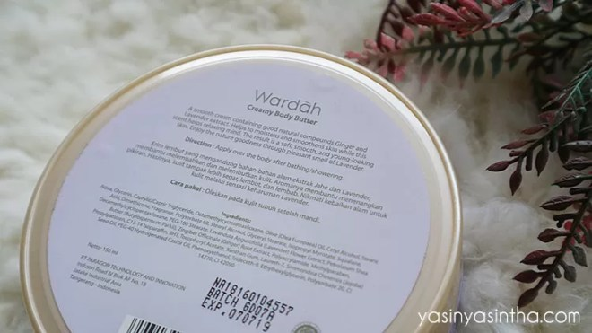 Wardah Creamy Body Butter Lavender and Ginger review, wardah body butter, wardah review, wardah body butter review