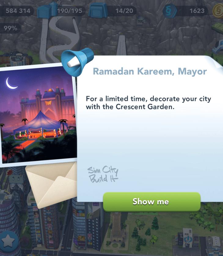 Ramadan Kareem message in Simcity: Build It on iOS