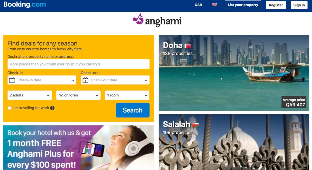 Anghami + Booking.com = earn Plus months