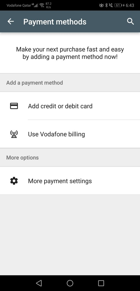 Vodafone billing option on Google Play app on Android smartphones