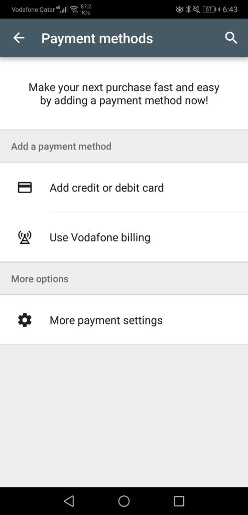 Vodafone billing option on Google Play app on Android smartphones