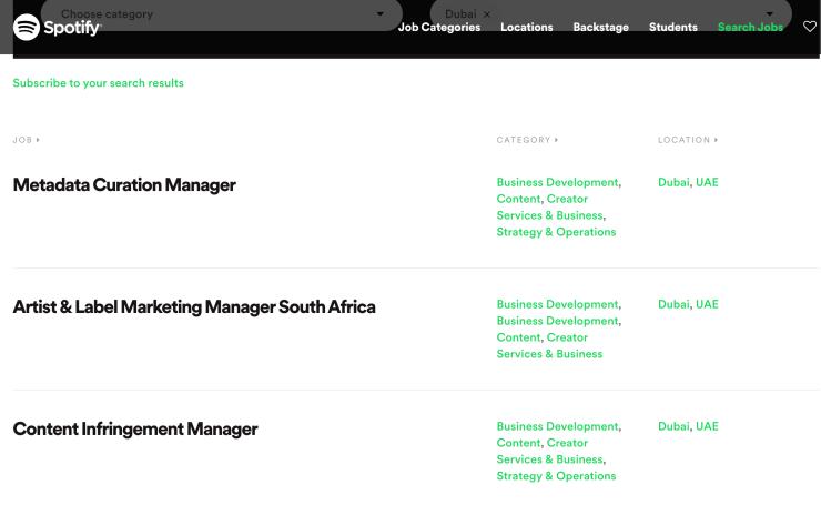 Job vacancies in Dubai on the Spotify jobs portal