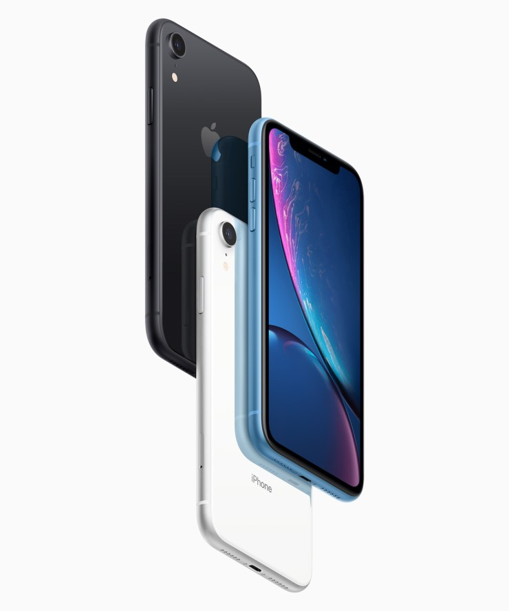 iPhone XR in black, white and blue