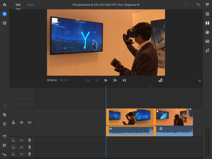 Timeline sequence in Premiere Rush CC on iOS, almost resembles Premiere Pro