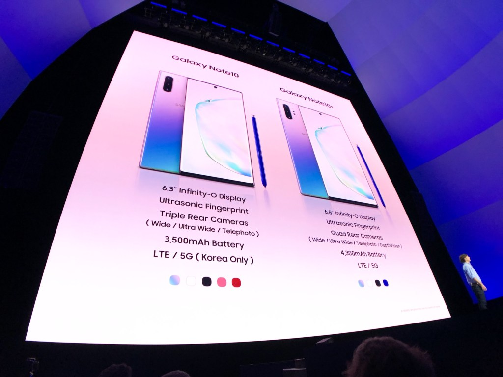 Spec comparison of Note 10