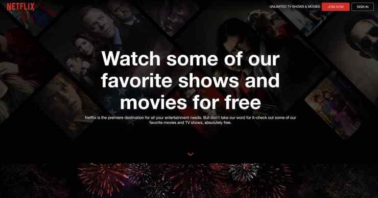 Netflix's Watch Free page.