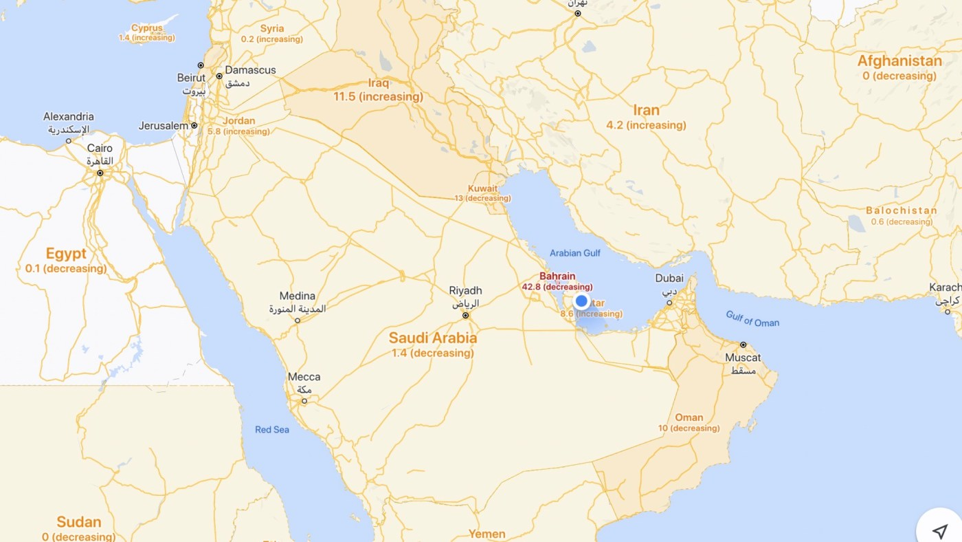 COVID-19 info across Middle East on Google Maps