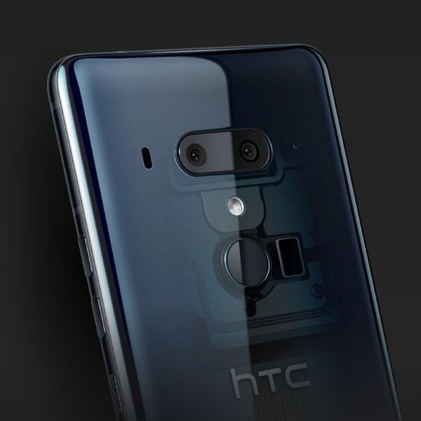 「HTC U12+」の透明ガラスによるデザイン