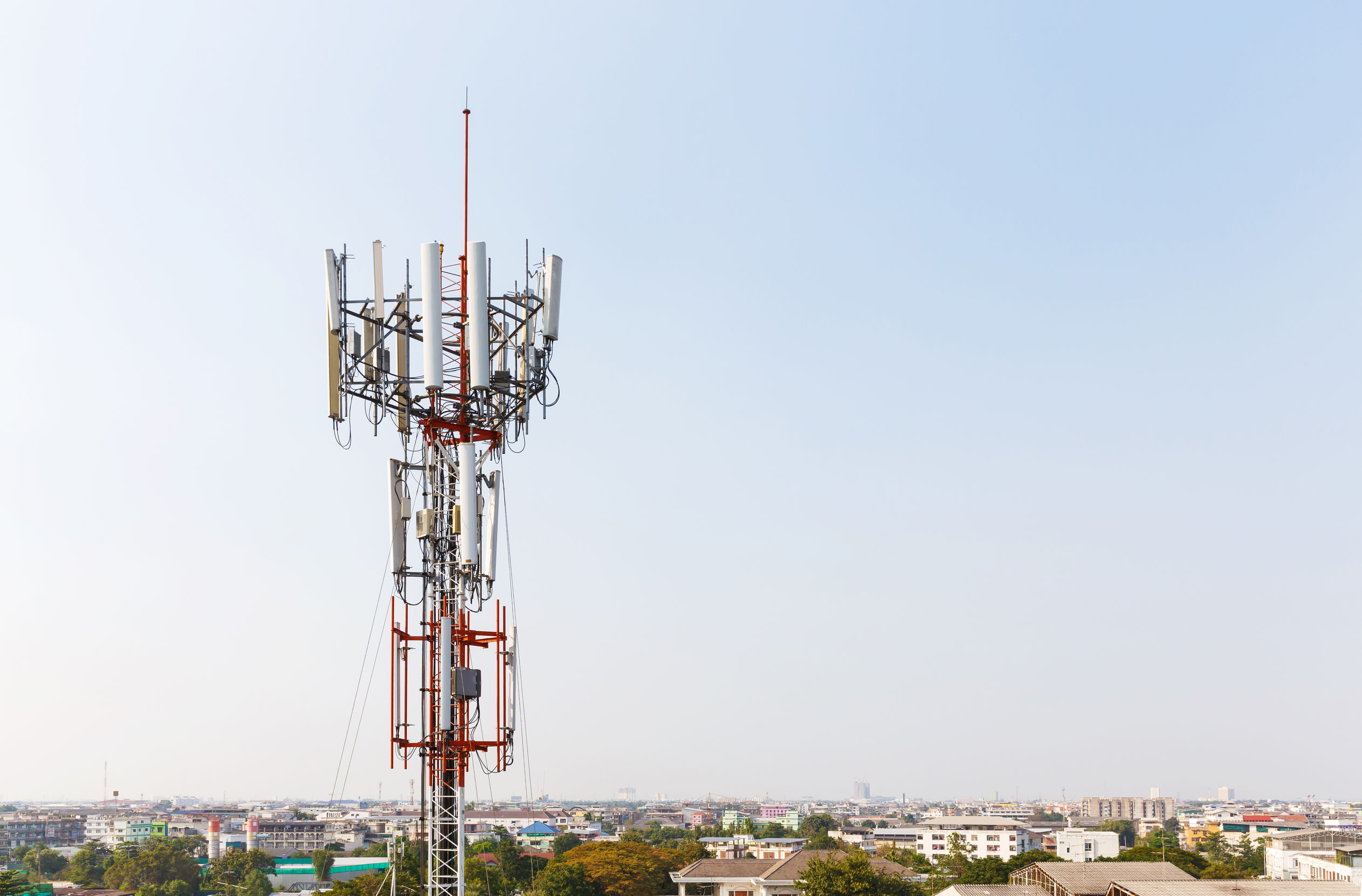 A crowded mobile network tower