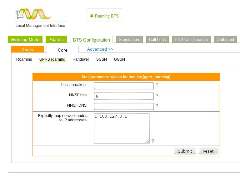 working mode GSM dataroam Core GPRS settings