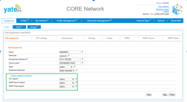 Core network equipment features