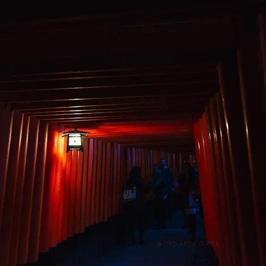 kyoto inari japan taisha nihon nippon lantern dark