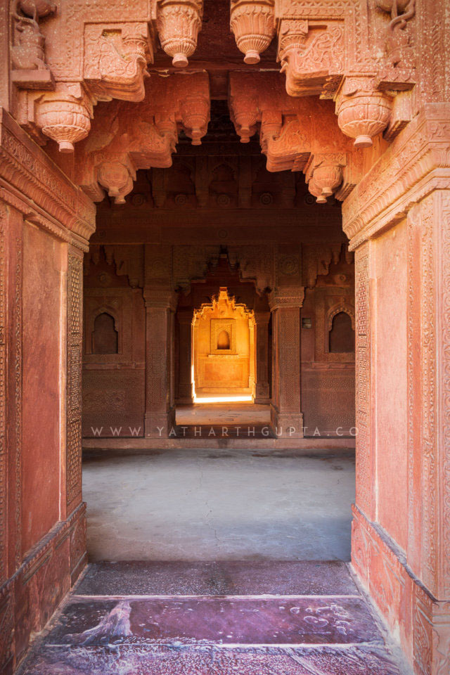 Sunlight in the fort chambers, Fatehpur-Sikri, India