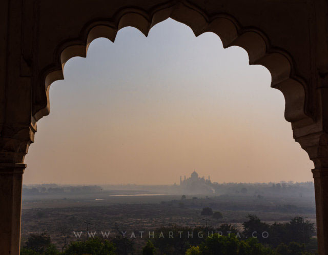 Taj Mahal Morning View From Red Fort Window