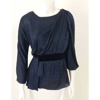 Prada Size 10 Navy Draped Top With Velvet Trim