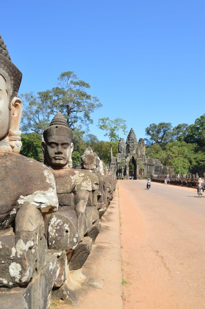 Pathway leading to the south gate of Angkor Thom in Siem Reap, Cambodia