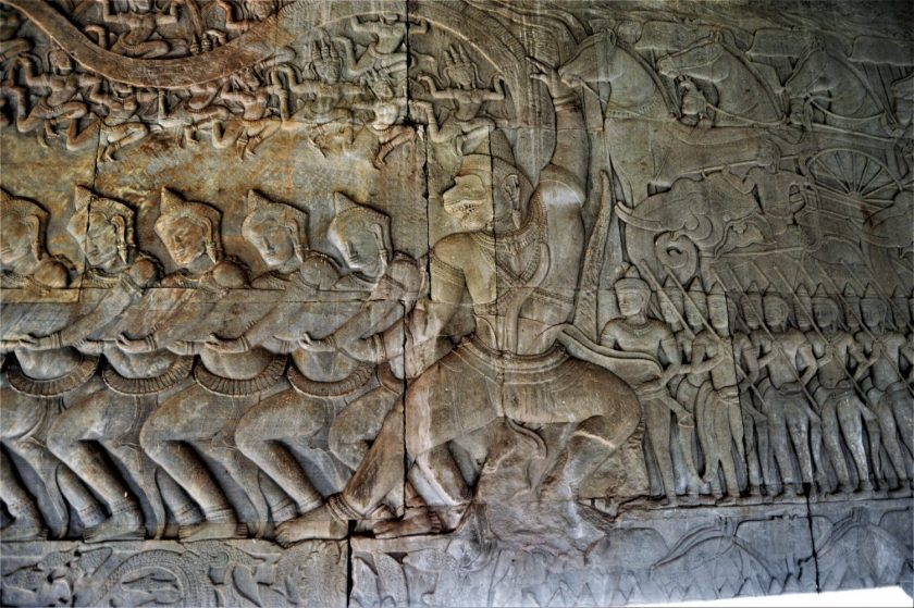 A section of the Samudra Manthana bas-relief depicting Hanuman and the devas churning the Ocean of Milk