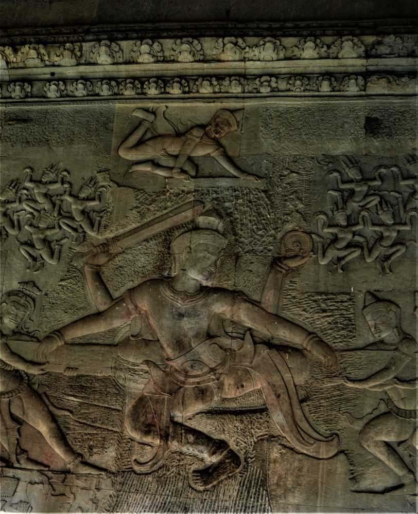 A section of the Samudra Manthana bas-relief depicting Vishnu and Indra in the middle of the Churning of the Ocean of Milk