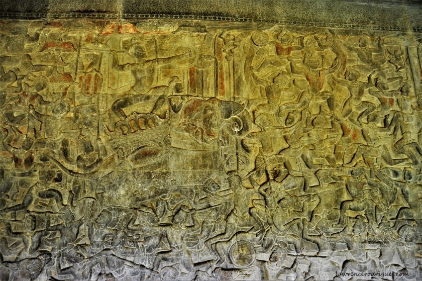 Indra riding Airavata depicted in the Gods Vs. Asuras bas-relief carved in the lower-level gallery of the Angkor Wat Temple in Siem Reap, Cambodia