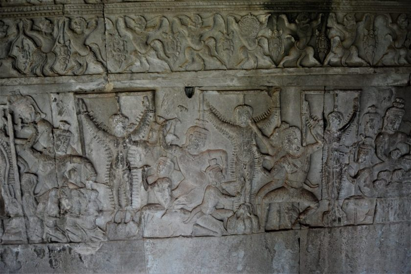 Punishing sinners in the Heavens and Hells bas-relief