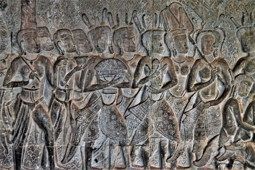 A section of bas-relief depicting women marching in the procession of King Suryavarman II