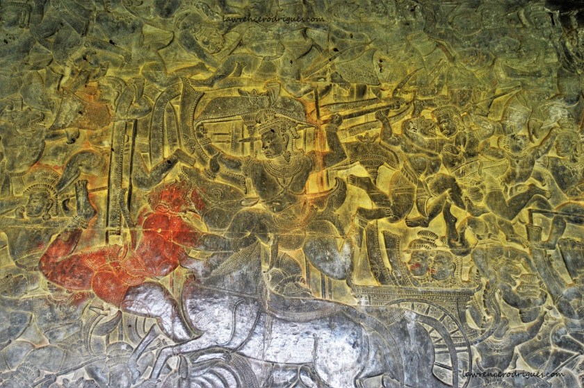 A combat scene in the Battle of Lanka relief carved in the lower-level gallery of the Angkor Wat Temple in Siem Reap, Cambodia