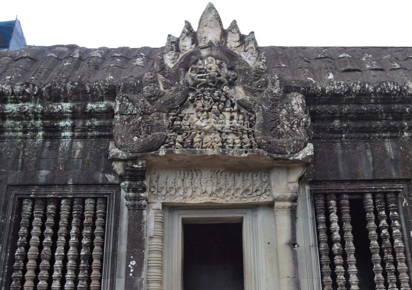 A door on the gallery of the middle terrace of the Angkor Wat Temple in Siem Reap, Cambodia