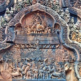 Burning of Khandava Forest - An episode from Mahabharata depicted on the east-facing north library pediment of Banteay Srei in Siem Reap, Cambodia