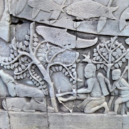 A section of bas-relief on the lower level gallery depicting a hunting scene