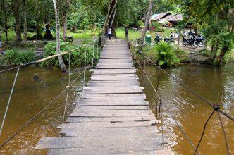 An improvised bridge in rural Cambodia