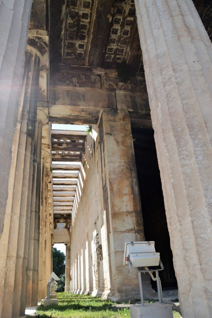 An interior view of the Temple of Hephaestus in Athens, Greece