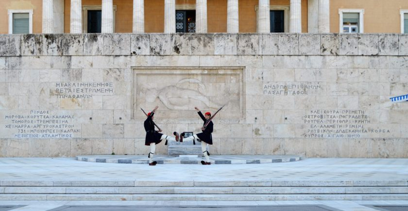 Changing guard at the Tomb of the Unknown Soldier in Athens, Greece