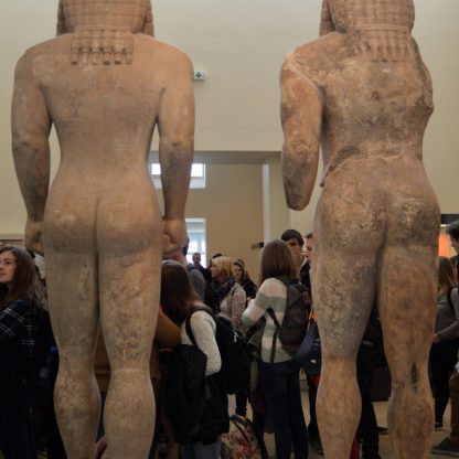 Statues of Argos twins on display at the Delphi Archaeological Museum in Delphi, Greece