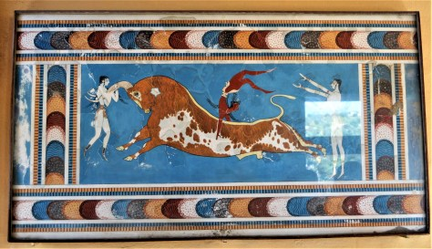 Fresco displayed at the Palace of Knossos depicting the game of Bull Leaping