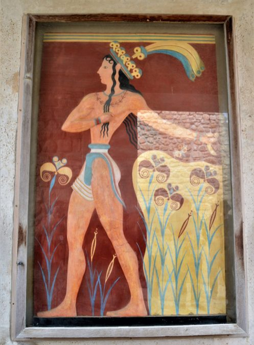 Prince of the Lilies fresco on display at the Corridor of Procession at the Knossos Palace in Crete, Greece