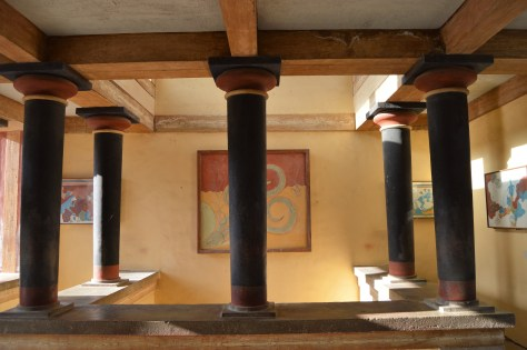 Reconstructed hall with columns and frescoes at the Palace of Knossos