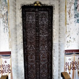 A finely-carved wooden door at the Monastery of St. John the Theologian in Patmos, Greece
