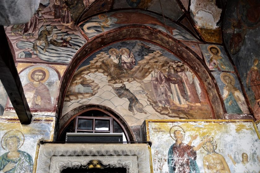 Frescoes on the walls of Monastery of St. John the Theologian in Patmos, Greece