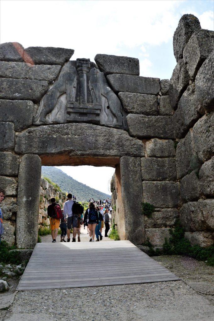 Lion Gate at the Mycenae citadel at the Mycenae citadel in Peloponnese, Greece