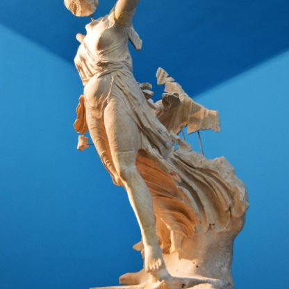 Nike of Paionios on display at the Olympia Archaeological Museum in Olympia, Greece