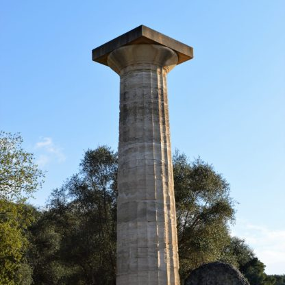 The remaining column of Temple of Zeus in Olympia, Greece