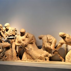 Sculptures on the west pediment of the Temple of Zeus portraying the fight between the Centaurs and Lapiths