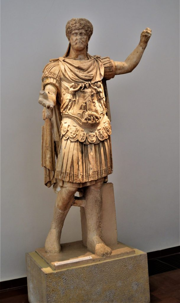 Statue of Emperor Hadrian on display at the Olympia Archaeological Museum.